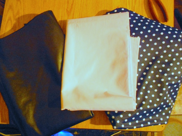 Black Pleather, Pale Pink Batiste, Navy and White Lycra
