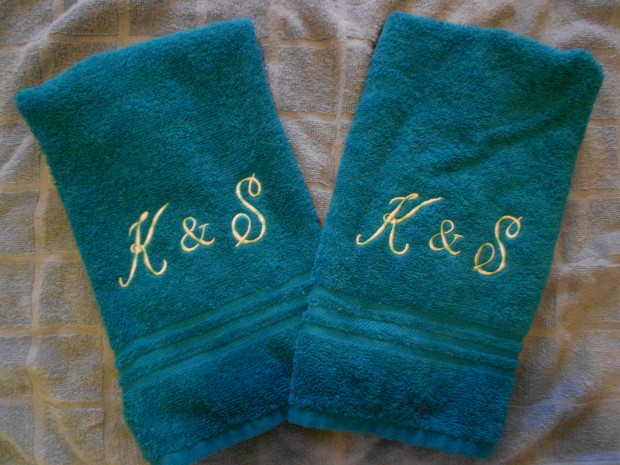 Used variegated thread to create initials for my daughter's bathroom.