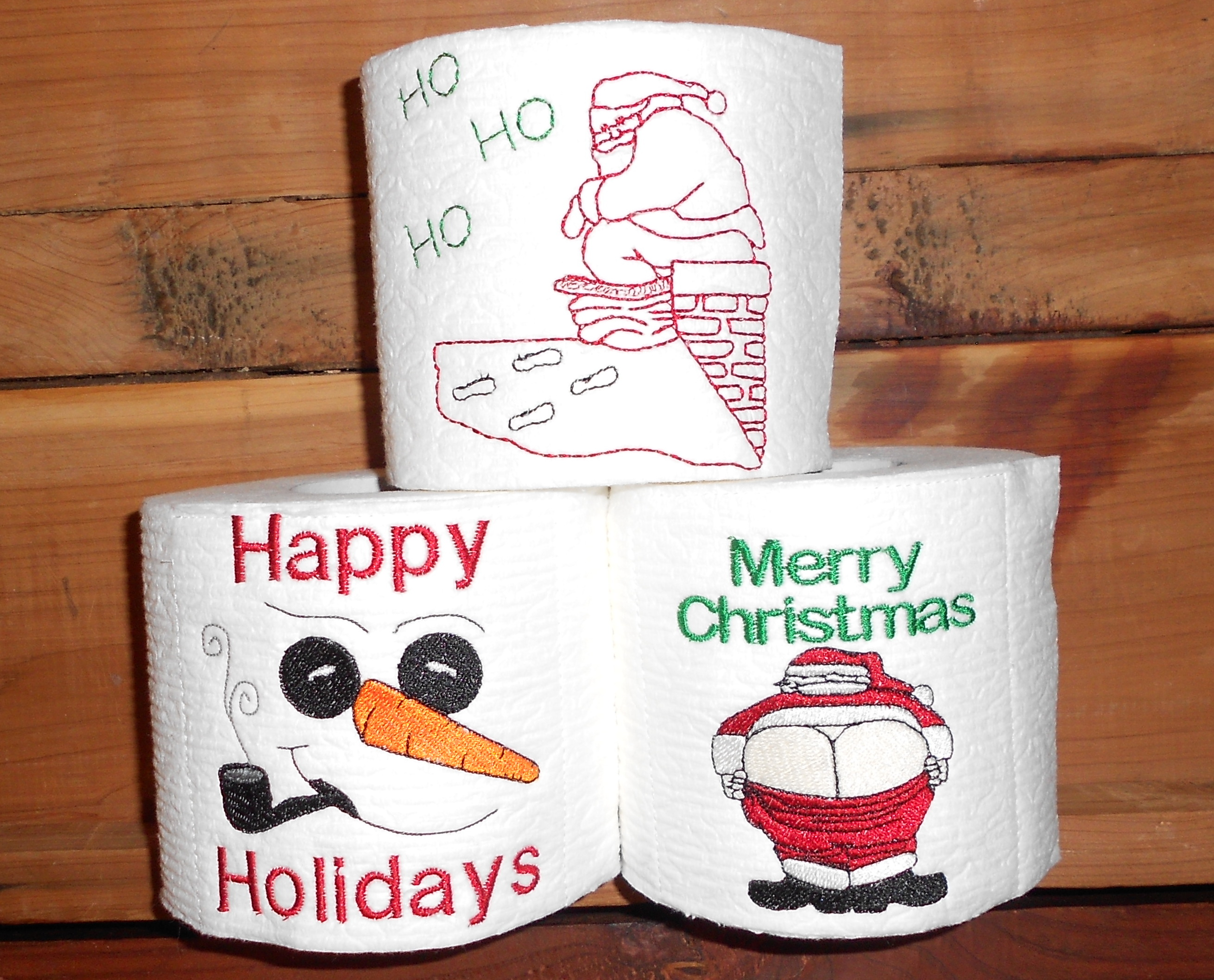 Embroidery designs for toilet paper - Three Designs